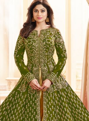 Shamita Shetty Malbari Silk  Green Long Choli Lehenga
