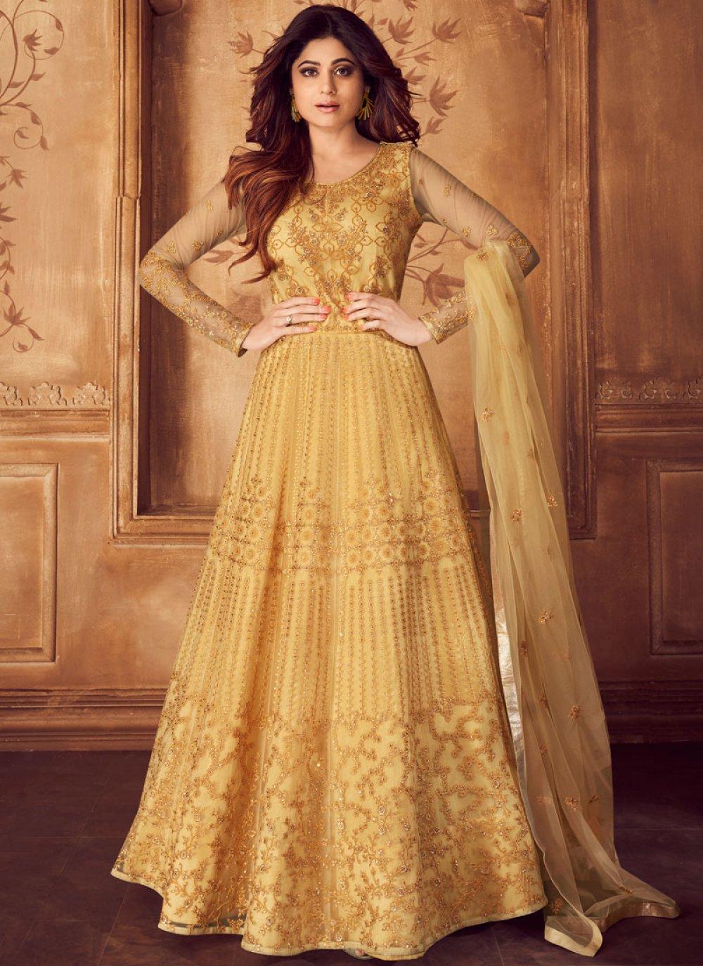 Shamita Shetty Net Resham Mustard Floor Length Anarkali Suit