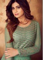 Shamita Shetty Net Sea Green Floor Length Anarkali Suit