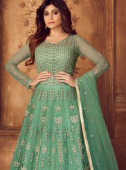 Shamita Shetty Net Sea Green Floor Length Anarkali Suit
