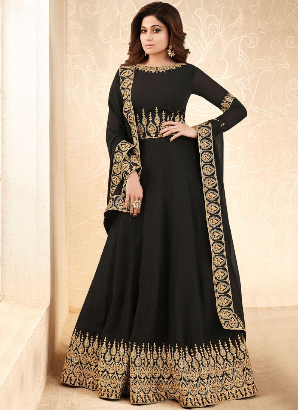 Shamita Shetty Patch Border Black Faux Georgette Floor Length Anarkali Suit