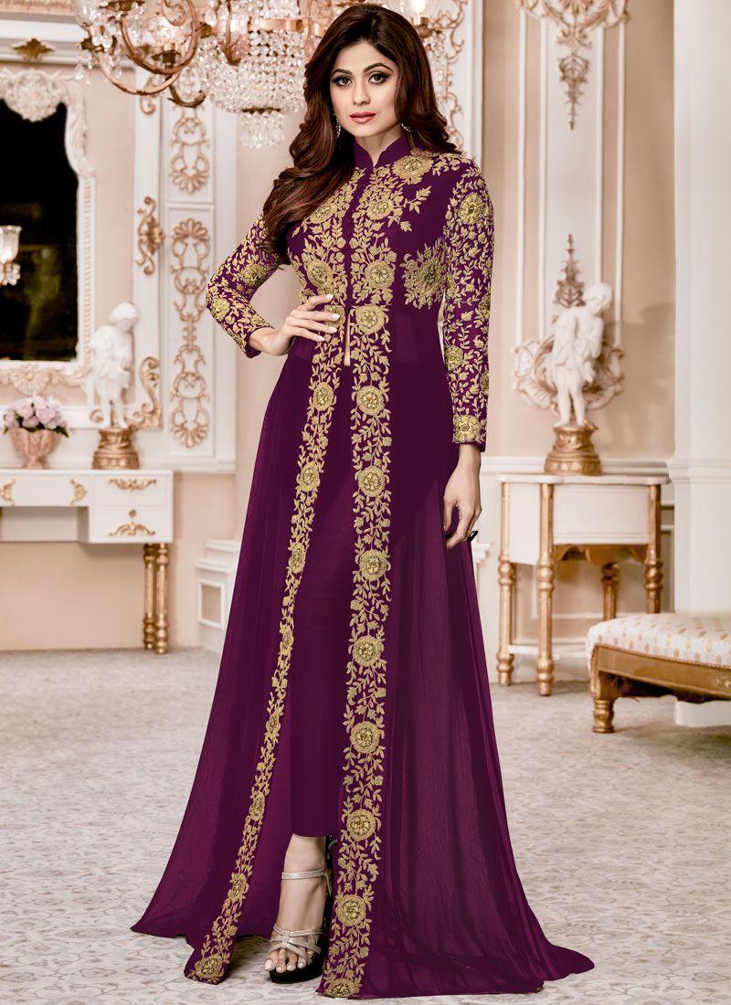 Shamita Shetty Purple Designer Suit