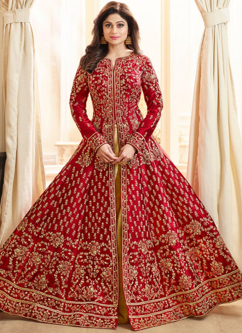 Shamita Shetty Red Art Silk Long Choli Lehenga