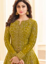Shamita Shetty Resham Green Malbari Silk  Long Choli Lehenga