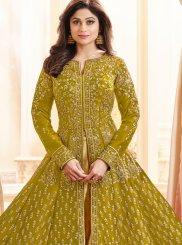 Shamita Shetty Resham Green Malbari Silk  Long Choli Lehenga