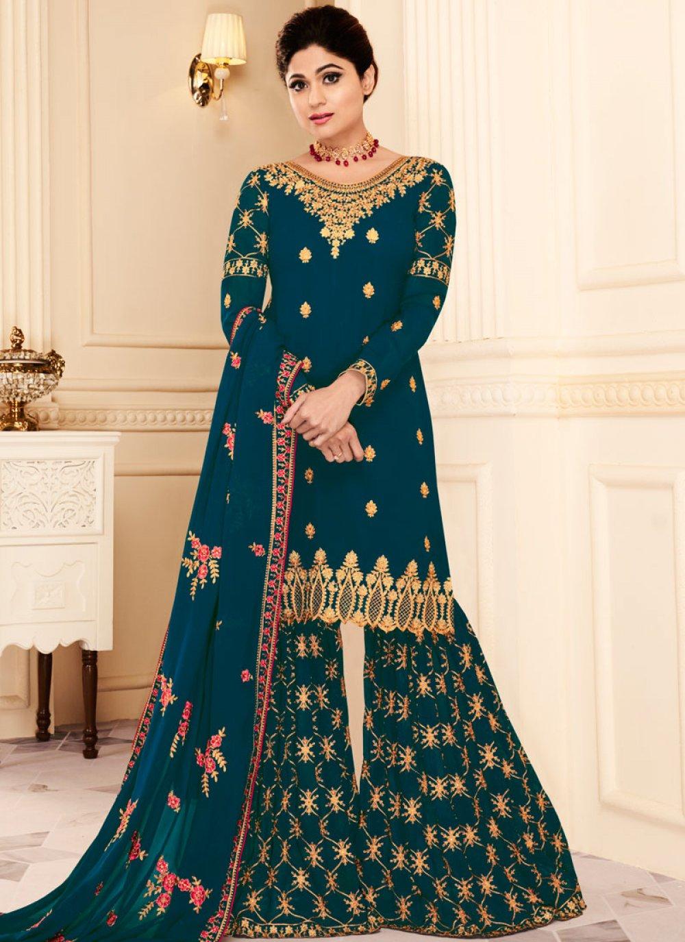 Shamita Shetty Teal Designer Pakistani Suit