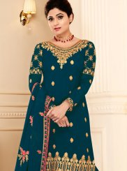 Shamita Shetty Teal Designer Pakistani Suit