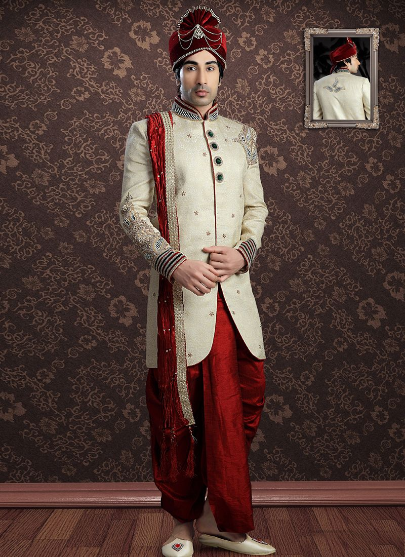 Sherwani Embroidered Jacquard in Cream