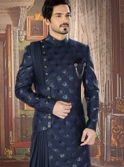 Sherwani Embroidered Jacquard in Navy Blue