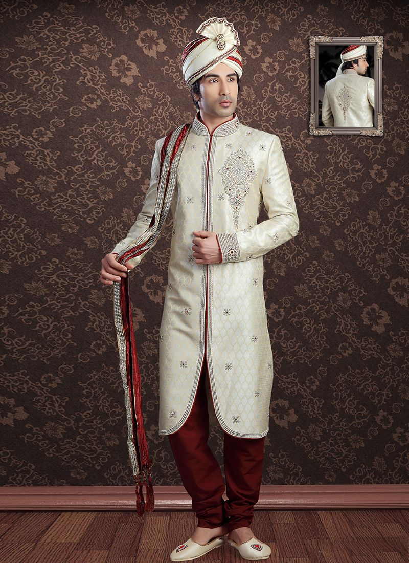 Sherwani Embroidered Jacquard in Off White
