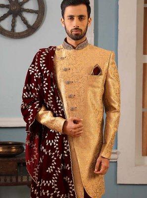 Sherwani Embroidered Jacquard Silk in Gold