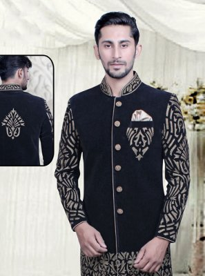 Sherwani Embroidered Velvet in Black