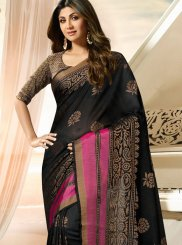 Shilpa Shetty Deserving Black Traditional Designer Saree