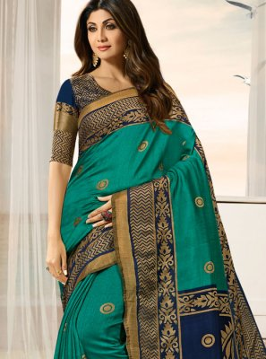 Shilpa Shetty Green Weaving Designer Traditional Saree