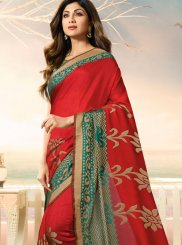 Shilpa Shetty Red Weaving Traditional Saree