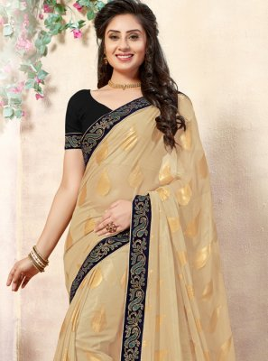 Shimmer Georgette Beige and Blue Lace Designer Saree