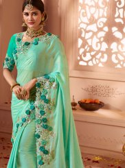Shimmer Georgette Patch Border Sea Green Designer Traditional Saree