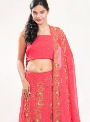 Shimmer Georgette Rose Pink Embroidered Lehenga Choli