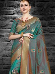 Silk Abstract Print Sea Green Designer Saree