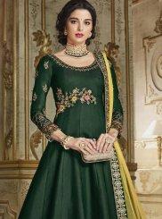 Silk Anarkali Salwar Kameez in Green