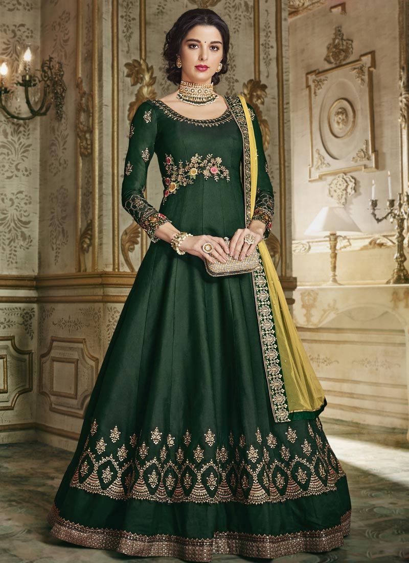 Silk Anarkali Salwar Kameez in Green