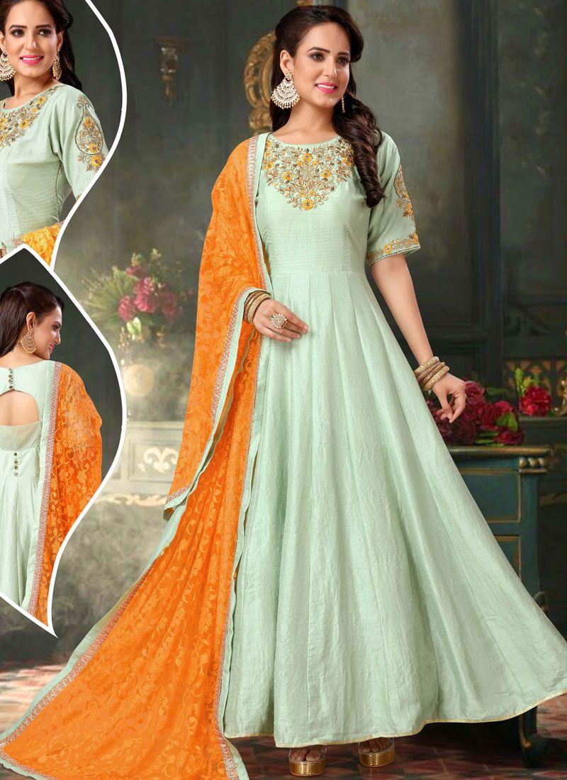 Silk Anarkali Salwar Suit in Green