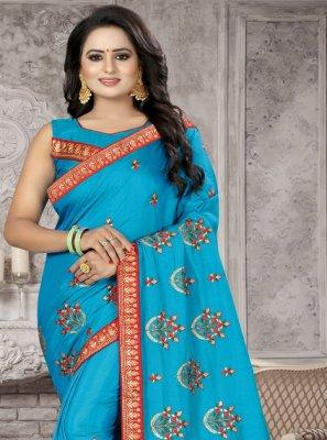 Silk Aqua Blue Zari Traditional Saree