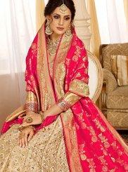 Silk Beige Weaving Designer Lehenga Choli