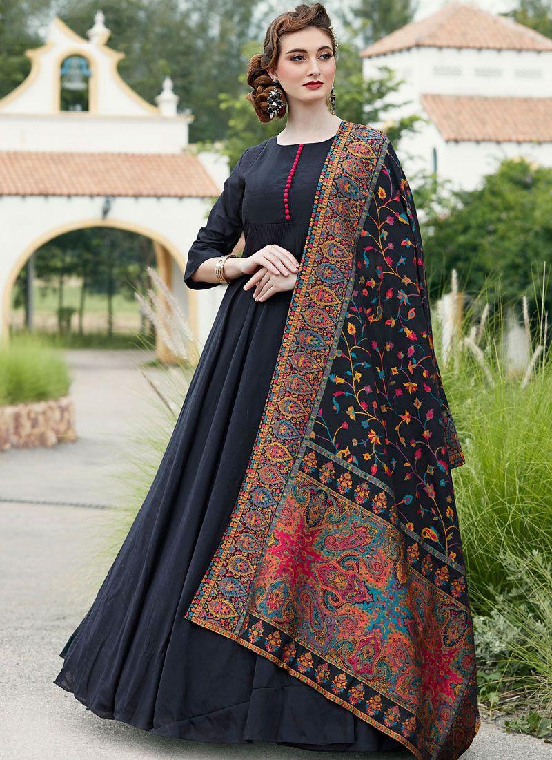 Silk Black Anarkali Salwar Kameez