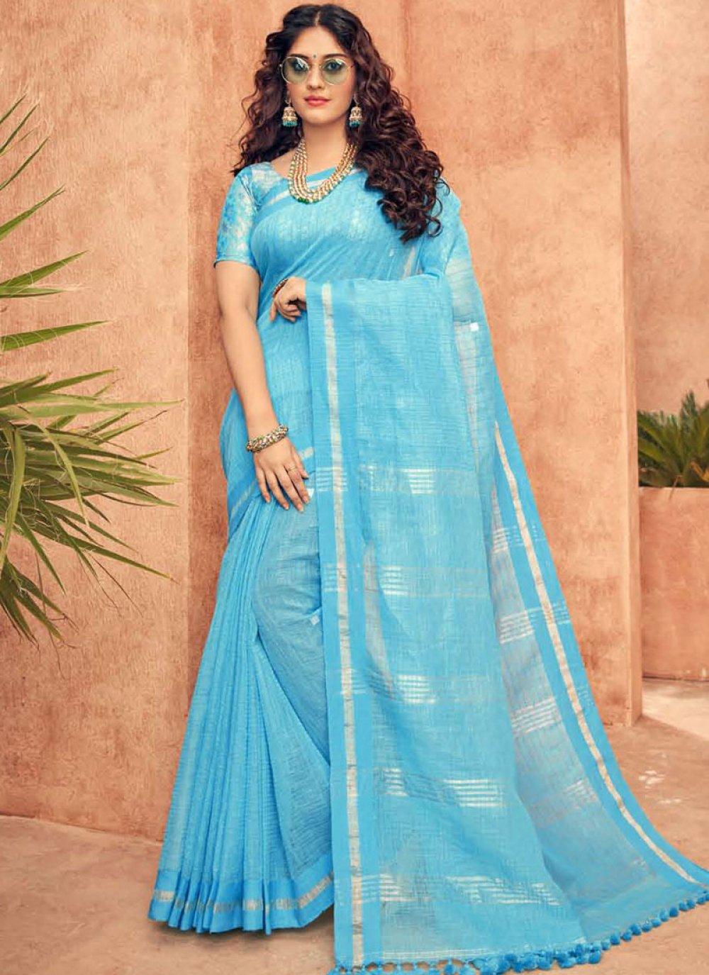 Silk Blue Traditional Designer Saree