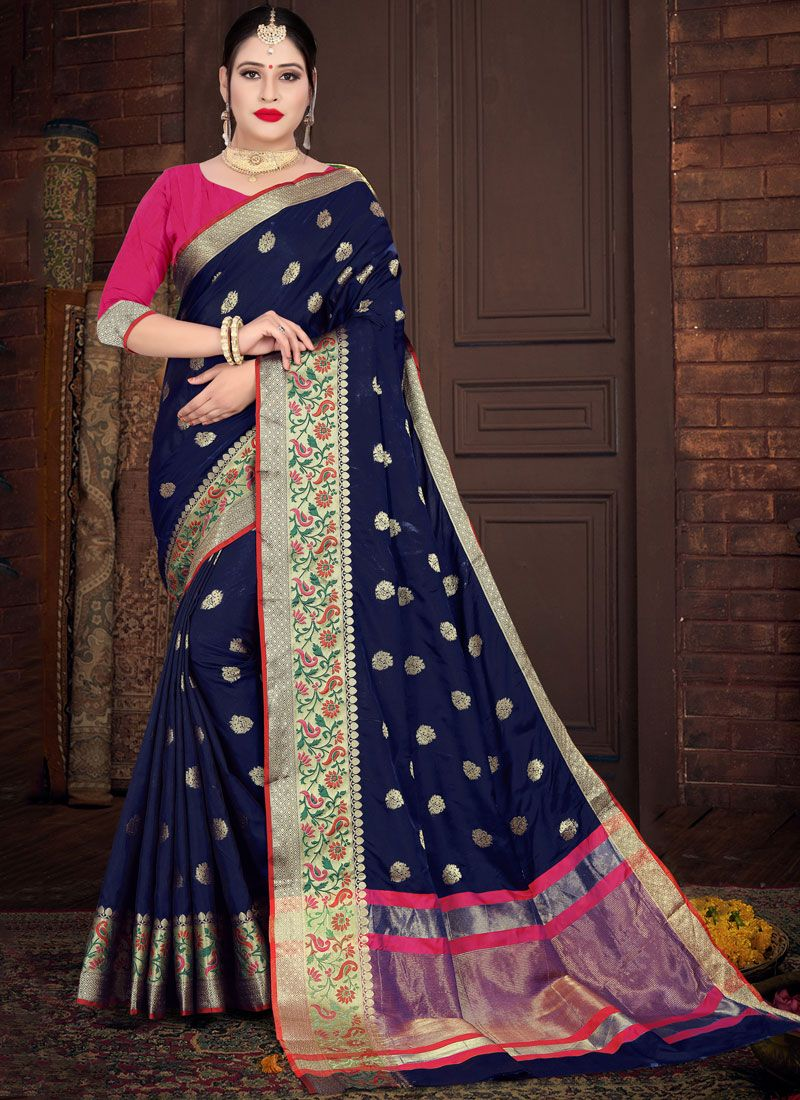 Silk Blue Weaving Casual Saree