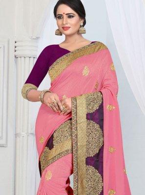 Silk Border Pink Designer Saree
