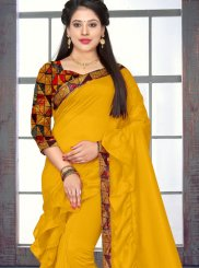Silk Border Yellow Trendy Saree