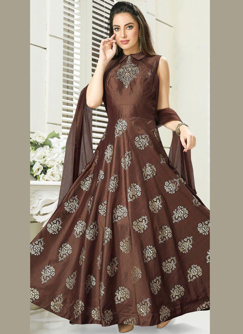 Silk Brown Anarkali Salwar Suit