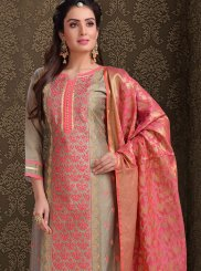 Silk Brown Churidar Salwar Kameez