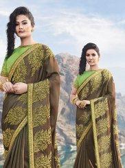 Silk Brown Designer Saree