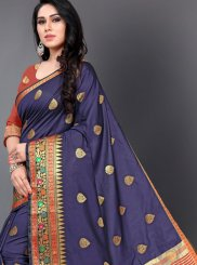 Silk Casual Saree in Navy Blue