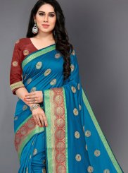 Silk Casual Saree in Turquoise