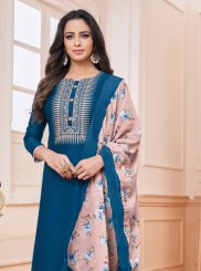 Silk Churidar Salwar Kameez in Blue