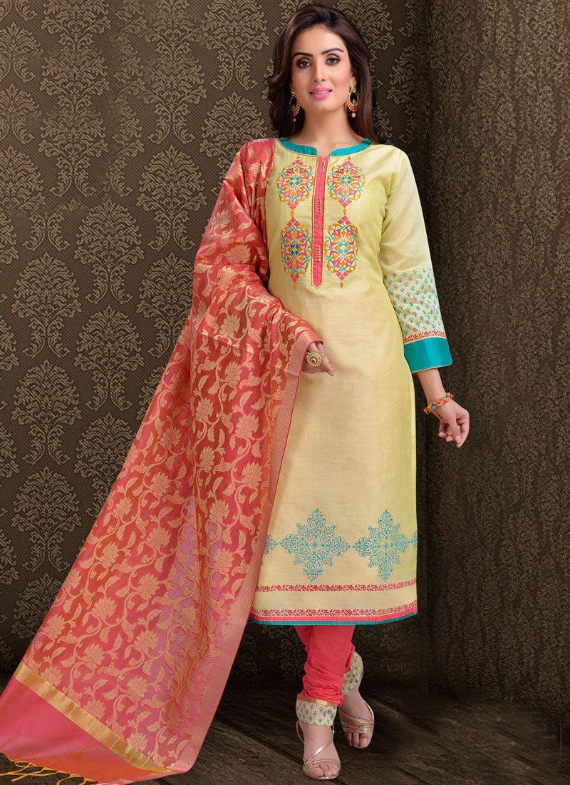 Silk Churidar Salwar Suit in Cream