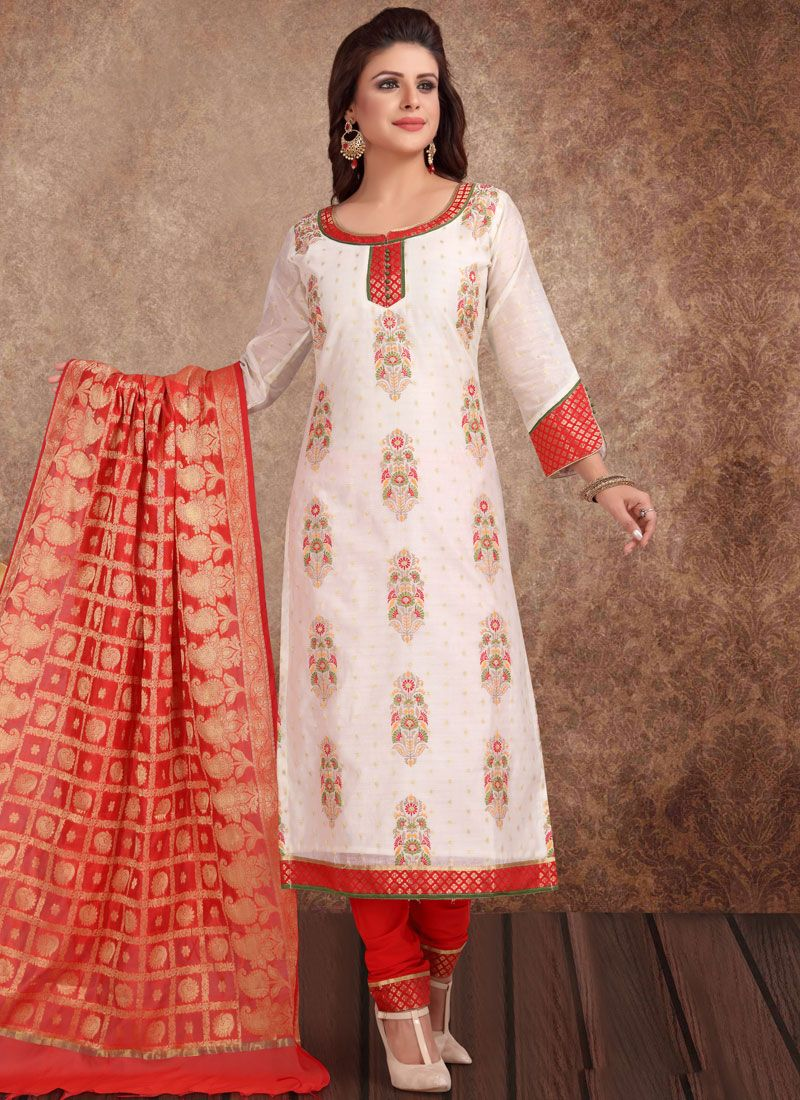2daef71f99 Shop Silk Churidar Salwar Suit in Off White Online : 111676 -