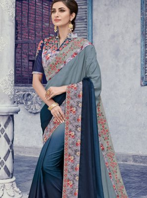 Silk Classic Saree in Grey and Violet