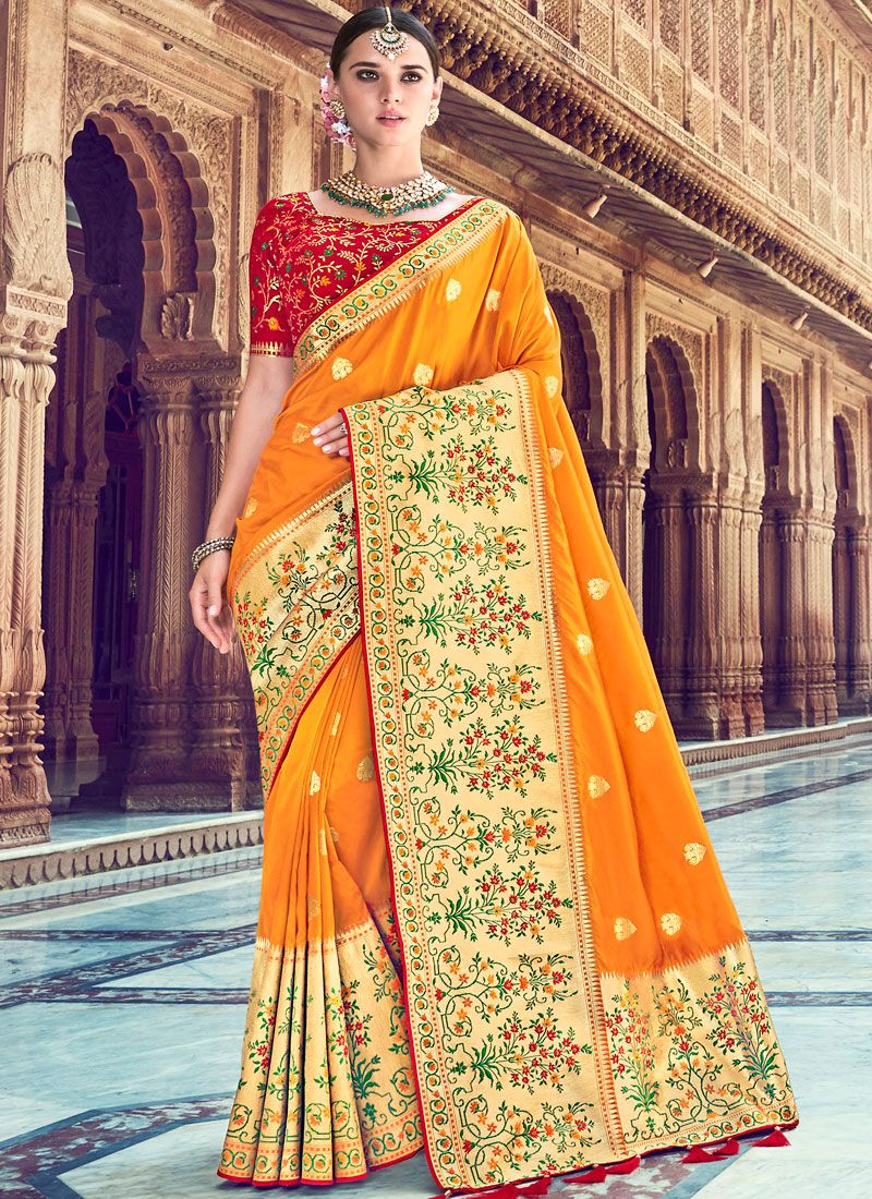 Silk Classic Saree in Mustard