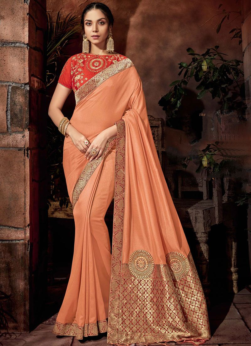 Silk Classic Saree in Peach