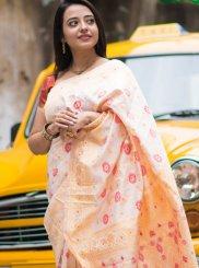 Silk Cream and Red Print Trendy Saree