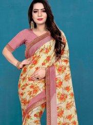 Silk Cream Printed Casual Saree