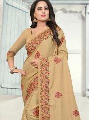 Silk Cream Resham Traditional Designer Saree