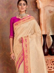 Silk Cream Trendy Saree