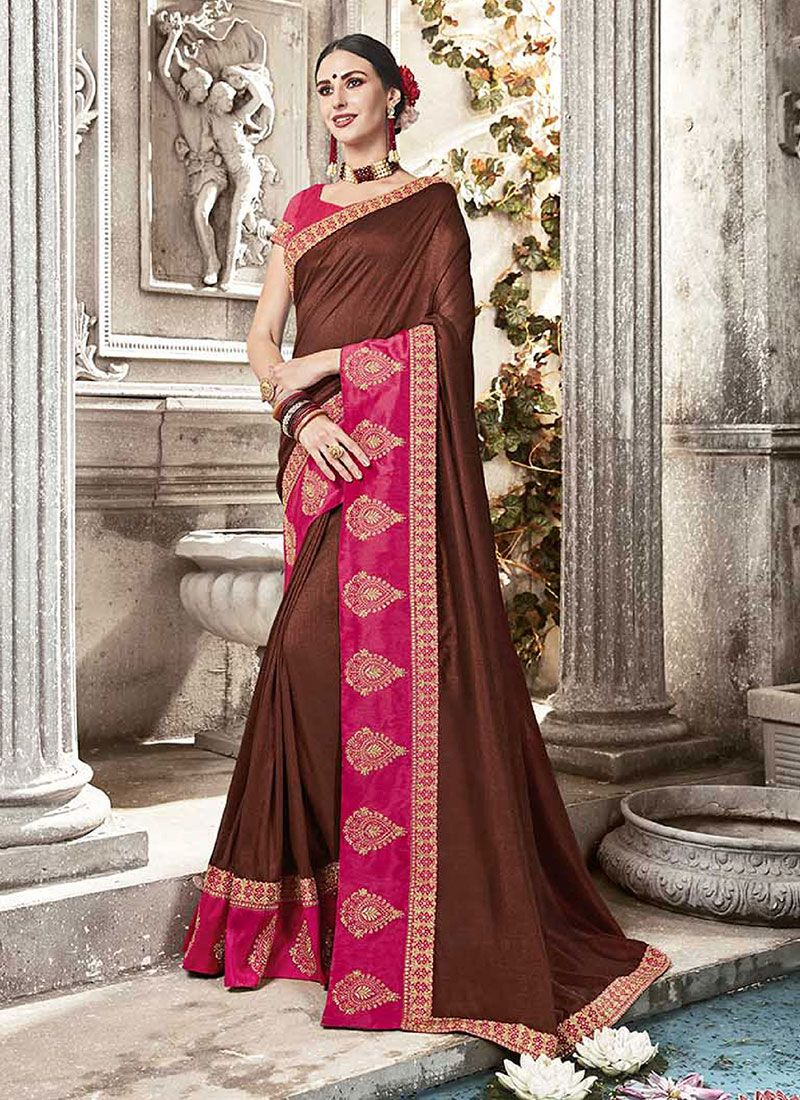 Silk Designer Saree in Rani