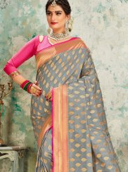 Silk Designer Traditional Saree in Grey